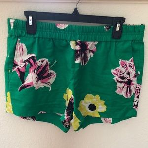 JCREW green floral shorts